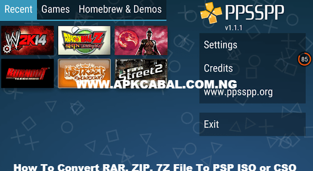 Convert RAR ZIP 7Z File To PSP ISO CSO Game
