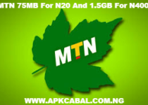 mtn 75mb for n20