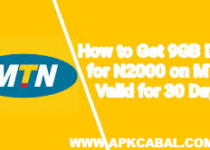 mtn 9gb for 2000 naira